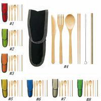 Bambù di posate coltello forchetta cucchiaio kit bambù paglia portatile picnic esterno eco set stoviglie ZZA1954