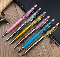 Creativamente 1,0 mm de lujo de aceite de flujo de bolígrafo lámina de oro cristal Metal cobre colorido polvo de oro de alta calidad pluma arenas movedizas GB932