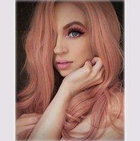 جديد الأوروبية والأمريكية الباروكات السيدات طويل الشعر موجة كبيرة حجم رقيق طويل مجعد الشعر المتناثرة وردي باروكة مجموعة شحن مجاني