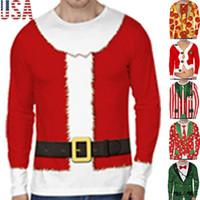 Neue Winter-Männer verursachender Langarm Rundhalsausschnitt Druck Weihnachten Weihnachten Kostüm-T-Shirt 3D Printing Top Lustig-Neuheit