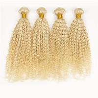 Russische 100g Echthaar-Webart 4 Bundles Brasilianisch-peruanische malaysische indische Jungfrau 613 blonde verworrene lockige Haarverlängerungen