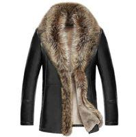 Livraison gratuite hiver hommes nouvelle veste de cuir de luxe hommes revers de fourrure de velours épais manteau hommes d'affaires décontractée Outerwea