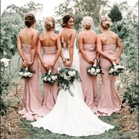 Blush Pink Sweathert Satin Sirena Largos Vestidos de dama de honor apresurados Longitud de piso Longitud de boda Larga dama de honor Dressess Plus Tamaño