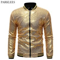 Mens Shiny Gold Sequin Varsity Jacket Coat 2019 New Bling Gl...