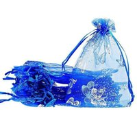 Il regalo di cerimonia nuziale del organza della farfalla blu 100pcs / lot BagsPouches i sacchetti d'imballaggio dei monili di 7x9cm