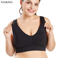 VEQKING M-XXL XXXL 4XL 5XL 6XL Big Size Sports Bra,Black White Breathable Wire Free Sleep Daily Yoga Bra,Women Padded Sports Top