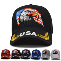 USA Embroidery Baseball Cap eagle america flag letter Outdoo...
