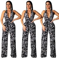 women fashion sleeveless spritting loose jumpsuit deep v- nec...