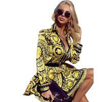 Fashion-элегантных женщин Дизайнерские V шеи Винтаж Блузы платья лета Сыпучие Печатные рубашки с длинным рукавом женская партия Улица Одежда