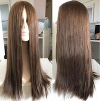 KOSHER Peruk 10A Sınıf Açık Kahverengi Renk # 6 En Güzel Perulu Virgin İnsan Saç İpeksi Düz 4x4 İpek Baz Yahudi Peruk Hızlı Ekspres Teslimat