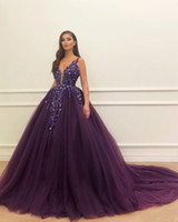 Purple Luxurious Beaded Crystals 2019 Evening Dresses Deep V-neck Tulle Prom Dresses Sexy Formal Party Pageant Gowns