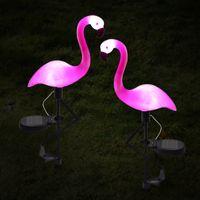 Solarbetriebene Flamingo Rasenlampe Gartendekor Solarlichter Wasserdichte LED-Licht für Outdoor-Garten Dekorative Pfahlbeleuchtung