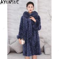 여성용 모피 가짜 Ayunsue 진짜 밍크 코트 여성 럭셔리 자연 코트 겨울 자켓 여성 칼라 따뜻한 긴 재킷 Manteau Femme My4166