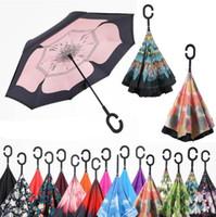 Inverser Umbrella Inverted pluie Umbrella stand Inside Out C coupe-vent poignée parapluie pliant double couche protection auto pluie YP929 vitesse