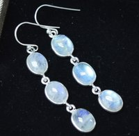 Genuine Rainbow Moonstone EARRINGS 925 Sterling Silver, 51 m...