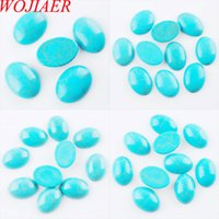 WOJIAER ovali naturali turchesi Pietre di gemma Perline Cabochon CAB No Drill Hole monili che fanno DBU817