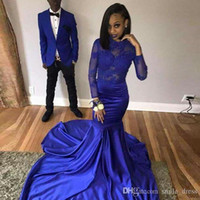 Sexy African Royal Blue Mermaid Prom Dresses 2019 Satin Appl...