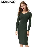 GLO-STORY 2018 Nouvelles Femmes Automne Chandail Robe Multi-Couleur De Base Solide À Manches Longues D'hiver Robe Femmes Dames Vestidos WMY-4268 T5190614