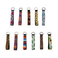 Bracelet KeyRings Party Favorise Floral Imprimé Touches Touches Néoprène Bracelet Keychain 20 Designs Grossistes Fournitures LXL1322A