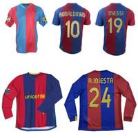 2006 2007 Ronaldinho Puyol Messi Xavi Saviola Retro Fútbol Jersey 06 07 Gudjohnsen Eto'o Deco Iniesta Vintage Classic Football Shirt