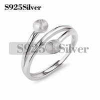 Fine 925 Sterling Silver Rings Accessories with Two Pearl Se...