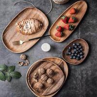 Sólido placa de madera Pan Platos toda Madera Madera Lovesickness irregular Oval de frutas platillo té bandeja Postre Plato del vajilla