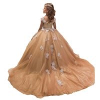 cheap appliques princess flower girl' s dress with train...
