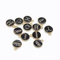 12pcs / set del metallo della lega smalto nero Constellation Segni Zodiacali fascini Diy del pendente fatto a mano degli accessori dei monili