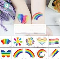 Pegatina de tatuaje de colorido arco iris para adultos 60 * 60mm pegatina cara cosmética encantador cuerpo arte temporal pegatina fiesta accesorio niños niñas juguetes