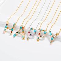 26 Letras iniciales Collares Mujeres Joyas de diamante A-Z Alfabetos Oro Platino Plateado Moda Colgante Colorido Collar Día de Madre Regalos