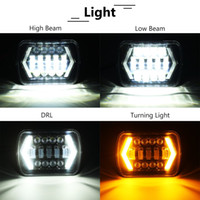 7x6 inch LED Headlight Hi- Lo Beam Halo DRL H6014 H6054 For T...