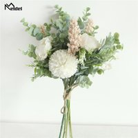 Meldel Artificial Flower Wedding Bouquet Silk Rose Peony Pom...