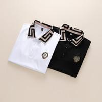 Mola Luxo Itália T-shirt T-shirt Designer Spolo Camisas High Street Bordado Bordado Garter Cobras Pequenas Bee Printing Roupas Mens Marca Polo Shir