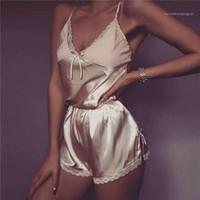 Top Shorts Pajamas Set Sleepwear raso Pijama Pigiami pigiama Femme Notte Suit Set Lace biancheria sexy delle donne Crop