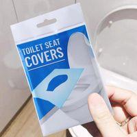 10 unids / bolsa de inodoro desechable cubiertas de asientos de papel Pad Papel soluble de agua Portátil Safe Hygienic Higienal Papel de asiento para el hogar Uso de viaje OOA7907