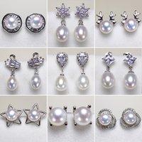 Пресноводные культивированный жемчуг серьги для женщин 925 серебряная серьга мотаться 7-8мм Сжатые жемчужные серьги для женщин Свадебный подарок