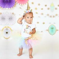 3pcs neonate unicorno manica corta pagliaccetto arcobaleno tutu gonne copricapo principessa abito da festa moda abiti costume