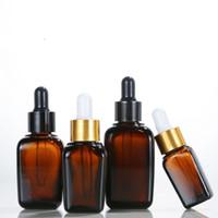 15 25 35 50 100 ml Bottiglie Ambra Piazza di vetro con Contagocce alluminio Cap olio essenziale contagocce per Lab chimici, acque di colonia, profumo