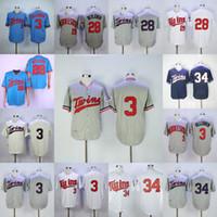 3 Harmon Killebrew 28 Bert Blyleven 34 Kirby Puckett Baseball Jerseys 더블 스티치 이름과 번호