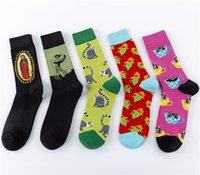 Moda homem criativo algodão penteado feliz meias confortáveis vestido esportivo engraçado jacquard com dinossauro macaco de milho