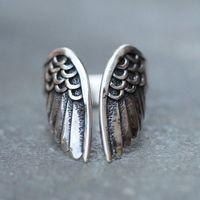 Anello d'apertura regolabile di forma dell'ala di angelo delle signore delle donne di Hipk di Punk di nuovo stile 1PC