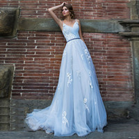 Pizzo Abiti Vestido De Noiva Light Blue Wedding Appliques A Line V Neck spalline illusione Abito da sposa Corte dei treni