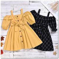 2020 лето новых девушки плед подвязка платья дети Falbala роса плечо принцесса платье дети одного дышащие луки пояс платье J2295