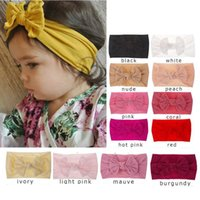 New Arrival 21 Colors Girls Elastic Soft bow nylon headwrap ...