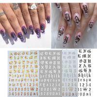 Etiquetas engomadas de la decoración de uñas en las uñas del arte de la etiqueta de la etiqueta de la carta de oro de los accesorios de la inscripción para manicura espalda pegatina