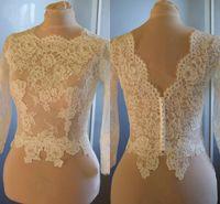 Nach Maß Weiß Elfenbein Hochzeit Jacken Illusion Langarm Vintage Spitze Bolero Jacke Für Braut Party Abendkleider Frauen Plus Größe 2019