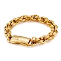 Hip Hop Edelstahl 18 Karat Gold Geplätte Kette Armbänder Europäische und amerikanische kühle Männer Dicke schwere Titan-Stahl-Armreif
