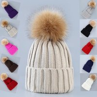 Mode Femme Crochet Knitting Hat Hommes Hiver chaud Couleur unie fourrure Pompon Beanies Cap Outdoor Ski Hat TTA1493
