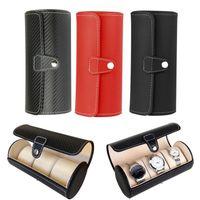 Box Watch display Luxury Gift Box Caso Rullo 3 Slot di cuoio dei monili del braccialetto della collana di orologio da polso bagagli custodia da viaggio