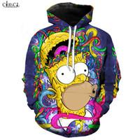 2020 New Style Anime Die Simpsons Hoodie Männer Frauen Homer J. Simpson Hoodies 3D-gedruckte Karikatur beiläufige Street Mantel